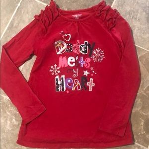 """Red """"daddy melts my heart"""" shirt"""